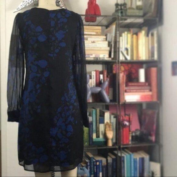 Asos Oasis Sheer Sleeve Floral Shift Dress